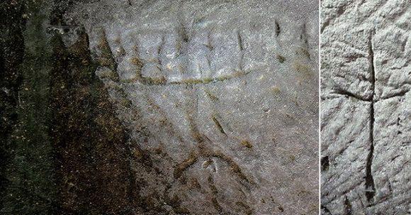 Inristad sjuarmad Menorah och ett kors upptäcktes av vandrare