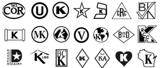Några symboler som visar att maten som säljs är Kosher